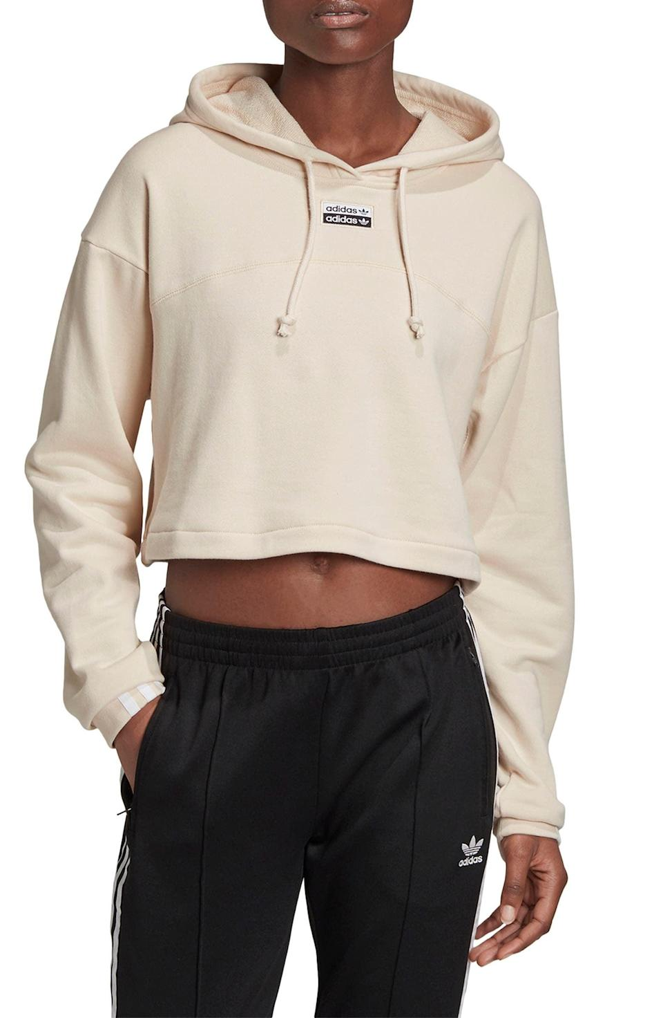 <p>Stay comfy in this <span>Adidas R.Y.V. Cropped French Terry Hoodie</span> ($60).</p>