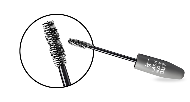 The mascara tube was inspired by Drybar's Half Pint round brush, which is the key to a bouncy blowout, complete with volume and lift at the roots. (Photo: It Cosmetics)