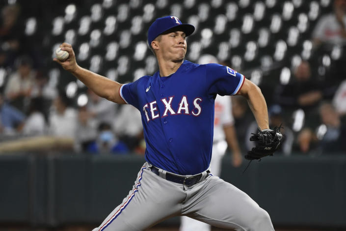 Texas Rangers starting pitcher Glenn Otto delivers during the second inning of a baseball game against the Baltimore Orioles, Thursday, Sept. 23, 2021, in Baltimore. (AP Photo/Terrance Williams)