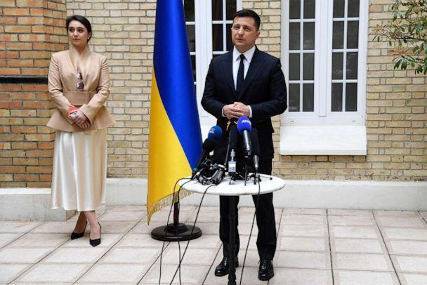 PHOTO: Ukrainian President Volodymyr Zelensky talks during a press conference at the Ukraine's embassy in Paris on April 16, 2021. (Bertrand Guay/AFP via Getty Images)