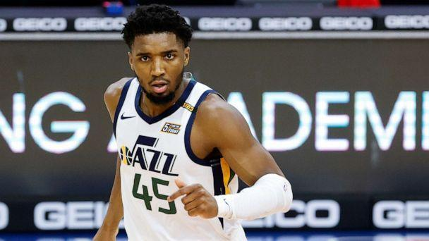 PHOTO: Donovan Mitchell of the Utah Jazz looks on during the third quarter against the Philadelphia 76ers at Wells Fargo Center on March 3, 2021, in Philadelphia. (Tim Nwachukwu/Getty Images, FILE)