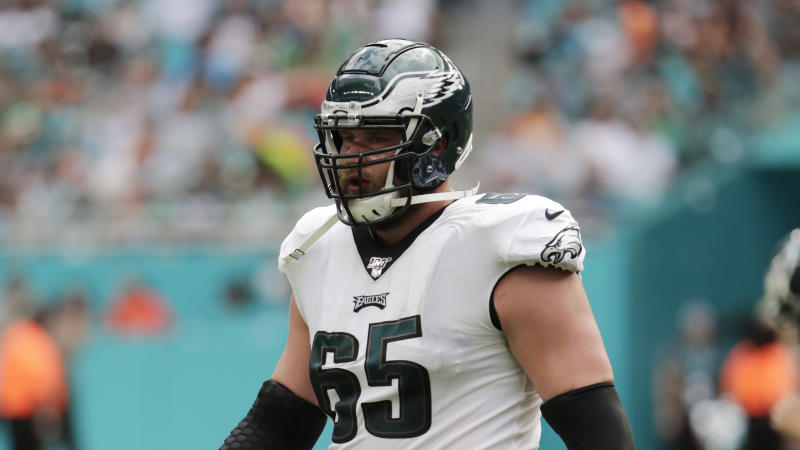 Philadelphia Eagles offensive tackle Lane Johnson (65) waits for play to resume, during the first half at an NFL football game against the Miami Dolphins, Sunday, Dec. 1, 2019, in Miami Gardens, Fla. (AP Photo/Lynne Sladky)