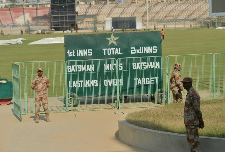 Pakistani rangers stand guard at the National Stadium in Karachi on February 11, 2018, during a full dress rehearsal of security arrangements for the Pakistan Super League final on March 25