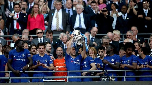 Chelsea's Eden Hazard celebrates with the FA Cup