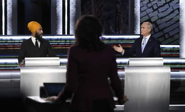 NDP Leader Jagmeet Singh, left, and Conservative Leader Erin O'Toole took part in the federal election English-language Leaders debate on Thursday. (Justin Tang/The Canadian Press - image credit)