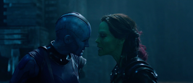 Nebula and Gamora have serious sibling issues in <i>Guardians of the Galaxy</i>. (Photo: Marvel Studios)