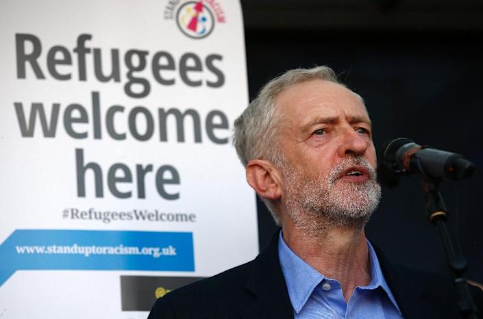 Labour' new leader Jeremy Corbyn, pictured at a pro-refugee rally in London on September 12, 2015, was a co-founder of the Stop the War movement which organised Britain's biggest ever march against the 2003 invasion of Iraq (AFP Photo/Justin Tallis)
