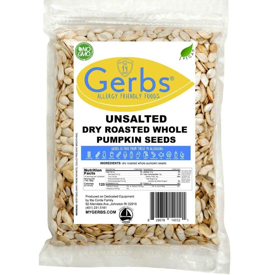 "<p>If you like a little kick, you've got to try these <a href=""https://www.popsugar.com/buy/Gerbs-Unsalted-Whole-Pumpkin-Seeds-585841?p_name=Gerbs%20Unsalted%20Whole%20Pumpkin%20Seeds&retailer=amazon.com&pid=585841&price=9&evar1=fit%3Aus&evar9=45727565&evar98=https%3A%2F%2Fwww.popsugar.com%2Ffitness%2Fphoto-gallery%2F45727565%2Fimage%2F45727577%2FThose-Love-Snacking-Salty-Foods&list1=shopping%2Camazon%2Chealthy%20snacks%2Csnacks%2Clow-carb&prop13=api&pdata=1"" class=""link rapid-noclick-resp"" rel=""nofollow noopener"" target=""_blank"" data-ylk=""slk:Gerbs Unsalted Whole Pumpkin Seeds"">Gerbs Unsalted Whole Pumpkin Seeds</a> ($9). </p>"