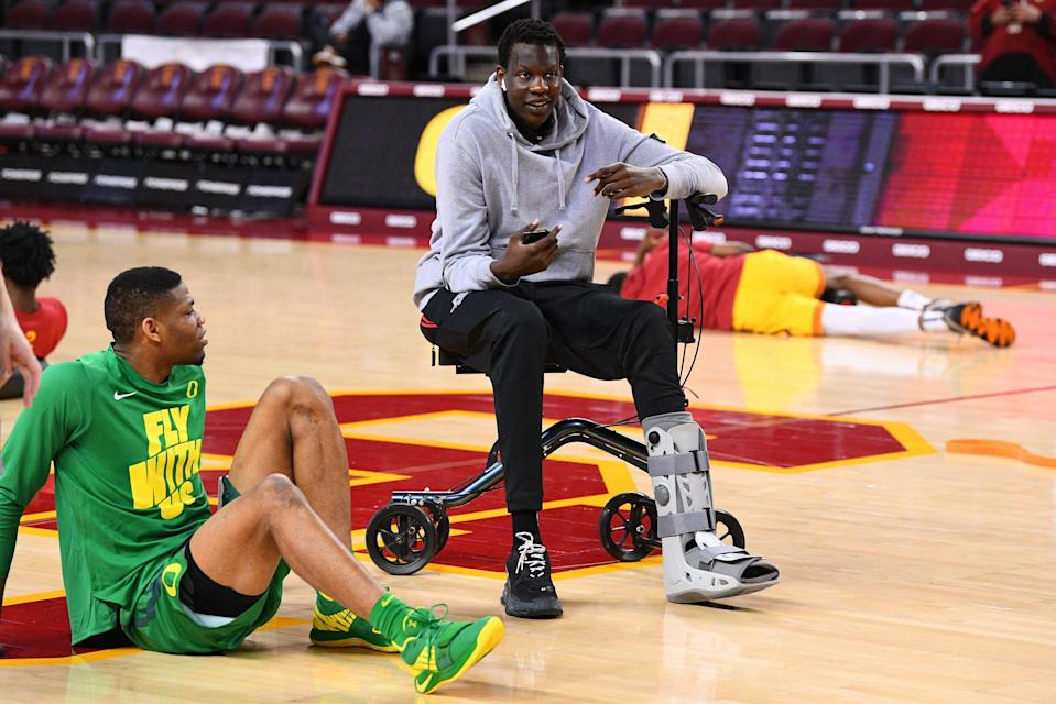 LOS ANGELES, CA - FEBRUARY 21: Oregon center Bol Bol (1) looks on before a college basketball game between the Oregon Ducks and the USC Trojans on February 21, 2019 at Galen Center in Los Angeles, CA. (Photo by Brian Rothmuller/Icon Sportswire via Getty Images)