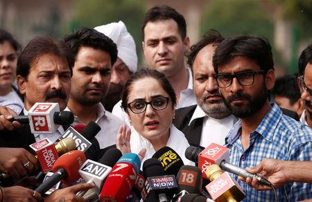 Deepika Singh Rajawat, lawyer of Kathua rape case victim, talks to media after filling a petition in the Supreme Court in New Delhi, India, April 16, 2018. REUTERS/Adnan Abidi