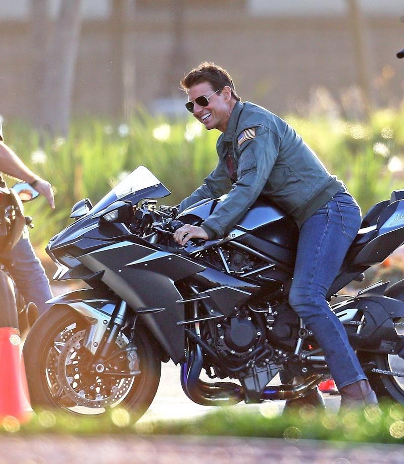 Tom Cruise, 56, Looks Half His Age as He Straddles a Motorcycle for Top Gun: Maverick