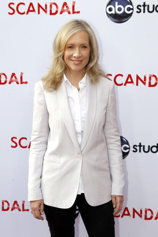 "Executive Producer Betsy Beers attends ""An Evening with Scandal"" at The Academy of Television Arts & Sciences for their season finale table read and Q&A on Thursday, May 16, 2013."