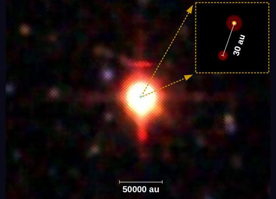 "There's a point in space that's 50,000 times as bright as our sun -- the signature of a massive star. Scientists already knew about it and named it PDS 27. But it turns out, the dot of light scientists were calling PDS 27 is actually two stars, PDS 27 and its stellar companion, PDS 37.The two giant stars are very young and very close together, separated by just 2.8 billion miles (4.5 billion kilometers), or 30 times the distance between Earth and the sun. That finding, published Monday (March 11) in the journal Astronomy & Astrophysics, offers clues about the way in which massive binaries like this form in the first place. [15 Amazing Images of Stars]""We're not claiming that we found the closest-orbiting massive binary stars,"" said study lead author Evgenia Koumpia, an astronomer at the University of Leeds in England. But it is very exciting that the two stars were found close together relatively early in their stellar lives, she told Live Science.Right now, scientists know that massive stars like this (stars at least eight times the size of Earth's sun, up to many thousands of stellar masses) often turn out to be binaries. But researchers don't know why that is, in large part because they don't know how or why massive binaries usually form, Koumpia said.One hypothesis holds that the stars form separately and then get tugged together by their combined gravities. Another idea holds that the dual stars form after older, giant stars go supernova and the supernova remnants split into two clumps. But both of those explanations predict that the stars would orbit far away from each other this early in their short lives.Another idea, though, says that both stars form out of the same cloud of swirling dust, after it ""cracks"" into two main clumps. That explanation predicts that young, massive binaries would remain close together. And these two stars are spaced at least as closely as the sun and Neptune, an orientation that seems to support that explanation.However, this single finding doesn't confirm any one idea or conclusively disprove any others, Koumpia said. Instead, it should be considered a hint pointing gently in one direction, she said.There's still a lot scientists don't yet know about PDS 27 and PDS 37 -- like how much of the system's total mass is in one star versus the other. The stars are so close to each other, and so far away from Earth (about 8,000 light-years), that existing images barely reveal that they're distinct stars. * 11 Fascinating Facts About Our Milky Way Galaxy * Big Bang to Civilization: 10 Amazing Origin Events * Spaced Out! 101 Astronomy Photos That Will Blow Your MindOriginally published on Live Science."