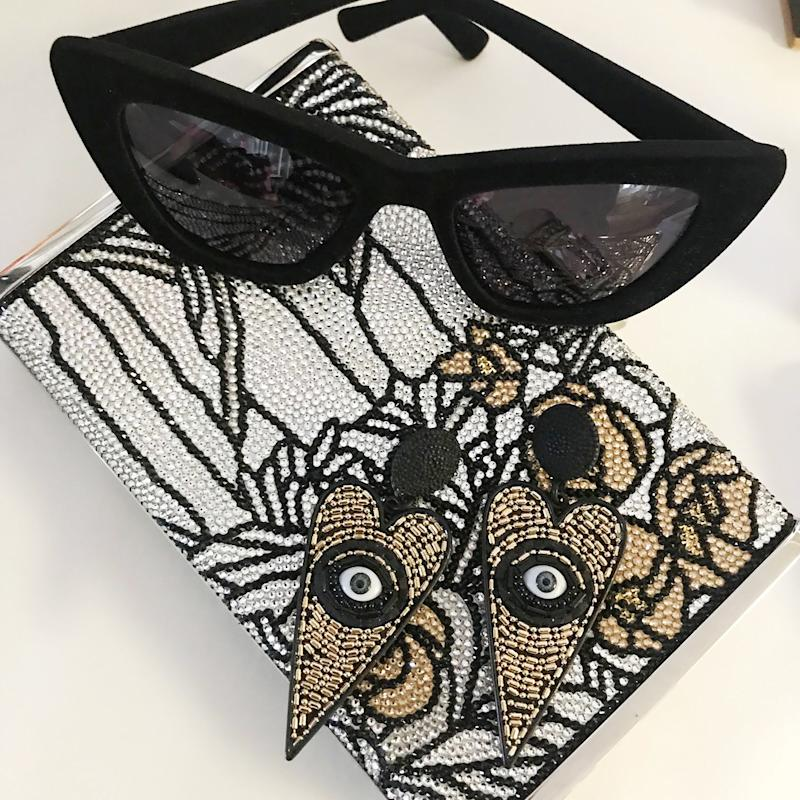 Judith Leiber bag and Christian Siriano velvet sunglasses. I love these earrings but not sure if they will make the look or not.