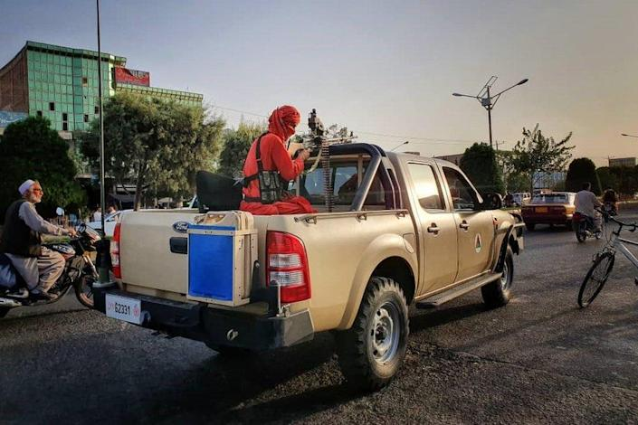 A Taliban figher on patrol in Herat, which was seized by the group on 11 August.