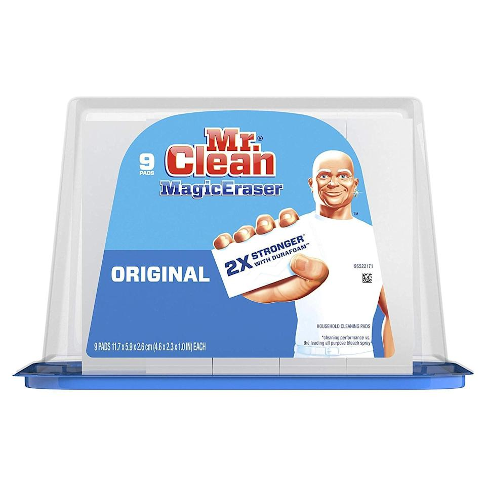 "<p>Spring cleaning won't be complete without this <a href=""https://www.popsugar.com/buy/Mr-Clean-Magic-Eraser-Original-548273?p_name=Mr.%20Clean%20Magic%20Eraser%20Original&retailer=amazon.com&pid=548273&price=7&evar1=casa%3Aus&evar9=47209032&evar98=https%3A%2F%2Fwww.popsugar.com%2Fhome%2Fphoto-gallery%2F47209032%2Fimage%2F47209435%2FMr-Clean-Magic-Eraser-Original&list1=shopping%2Camazon%2Corganization%2Cspring%20cleaning%2Chome%20organization&prop13=mobile&pdata=1"" class=""link rapid-noclick-resp"" rel=""nofollow noopener"" target=""_blank"" data-ylk=""slk:Mr. Clean Magic Eraser Original"">Mr. Clean Magic Eraser Original</a> ($7 for nine) pack.</p>"