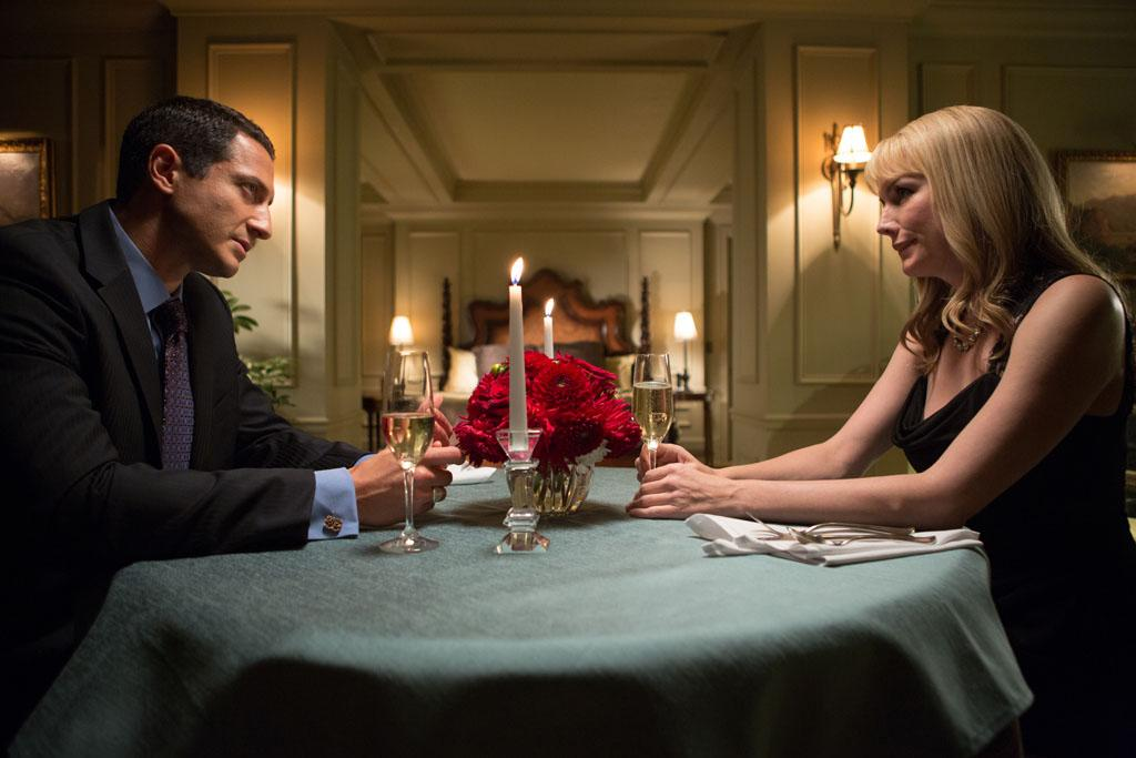 "Sasha Roiz as Captain Renard and Alice Evans as Mia in the ""Grimm"" episode, ""Over My Dead Body."""