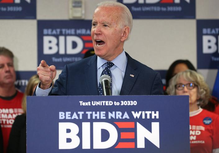 <p>Democratic presidential candidate former Vice President Joe Biden speaks about his plan to curb gun violence in February 2020.</p> (Getty Images)