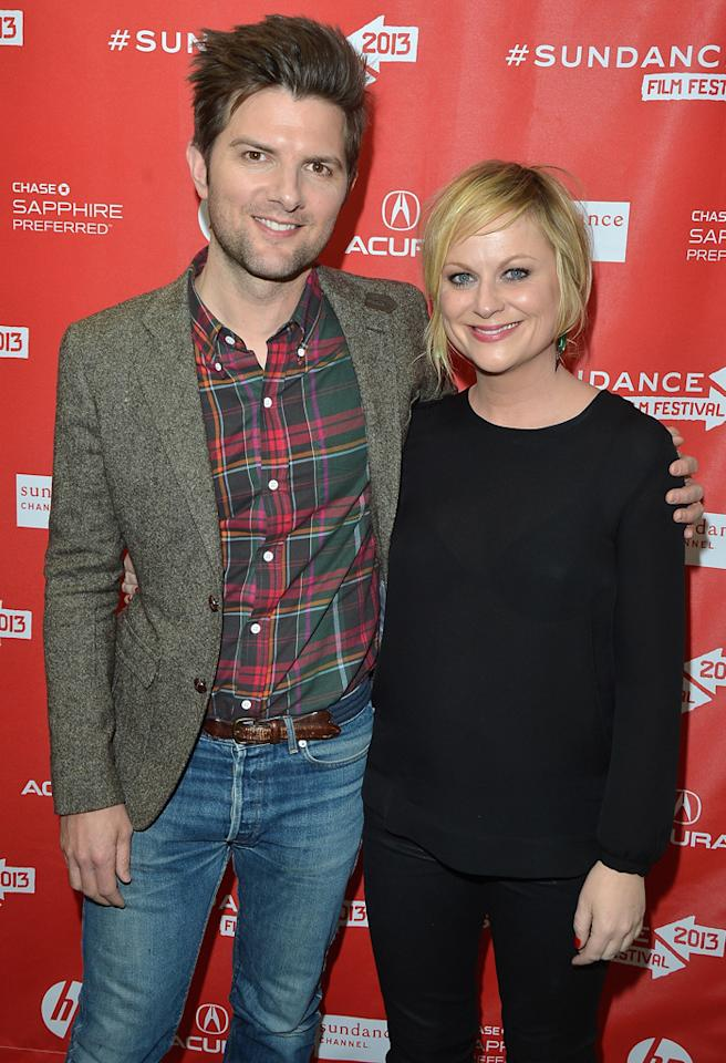 "PARK CITY, UT - JANUARY 23:  Actors Adam Scott and Amy Poehler attend the ""A.C.O.D"" Premiere during the 2013 Sundance Film Festival at Eccles Center Theatre on January 23, 2013 in Park City, Utah.  (Photo by George Pimentel/Getty Images)"