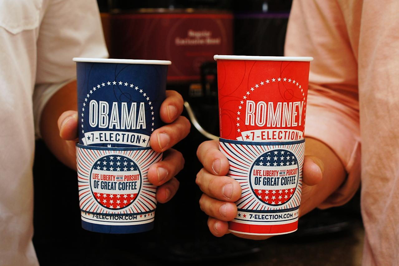 Election day freebies 	7-Eleven coffee cup. Get a free Romney or Obama coffee cup when you get your java.