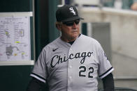 Chicago White Sox manager Tony La Russa walks in the dugout during the fourth inning of a baseball game against the Detroit Tigers, Saturday, June 12, 2021, in Detroit. (AP Photo/Carlos Osorio)