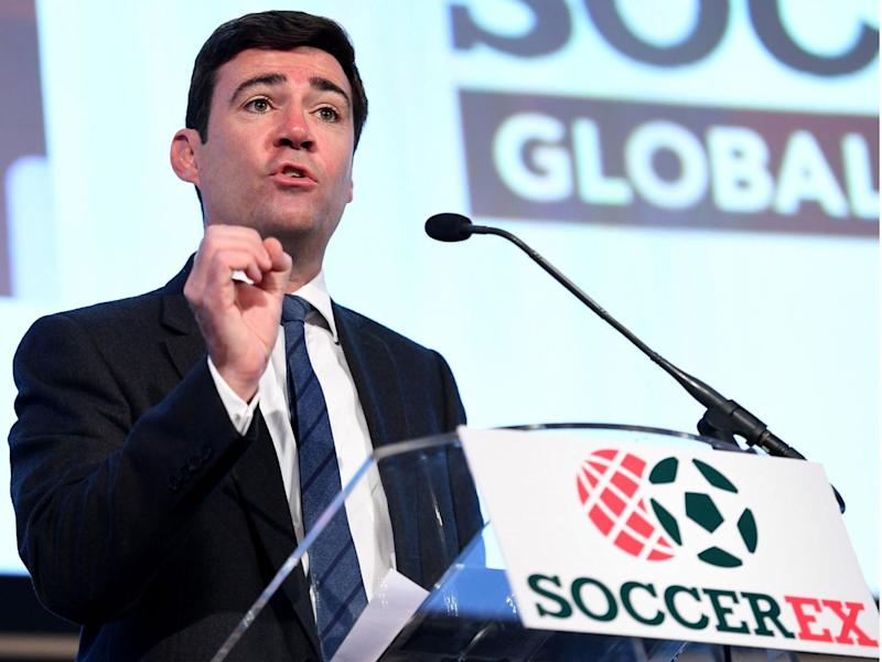Andy Burnham speaking in Manchester at the Soccerex Global Convention (Getty)