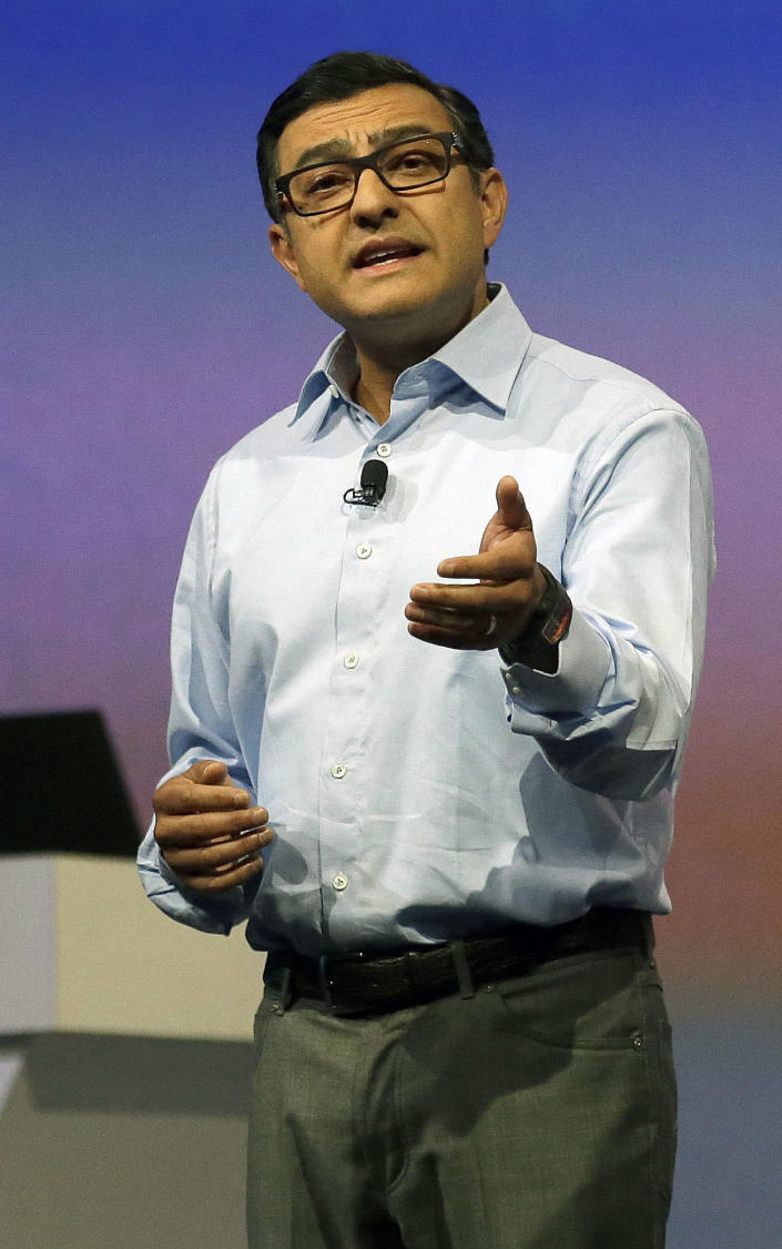 Vic Gundotra, senior vice president, engineering for Google, speaks at Google I/O 2013 in San Francisco, Wednesday, May 15, 2013. (AP Photo/Jeff Chiu)