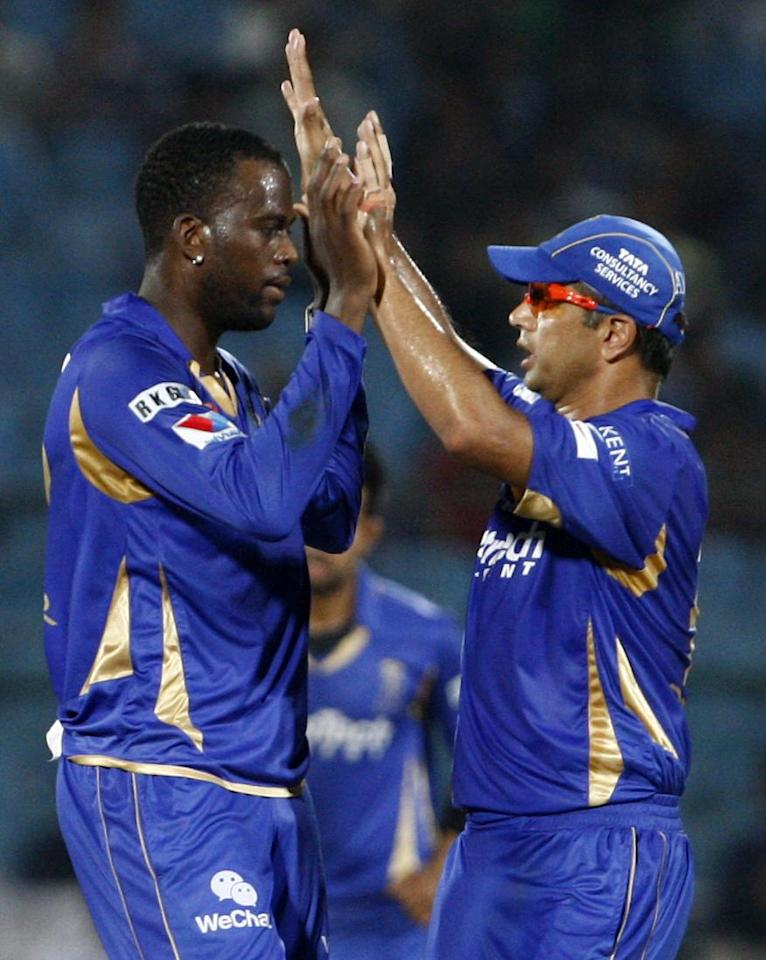 Rajasthan Royals' players celebrate fall of wicket against Perth Scorchers during the CLT20 match at Sawai Mansingh Stadium, Jaipur on Sept. 29, 2013. (Photo: IANS)