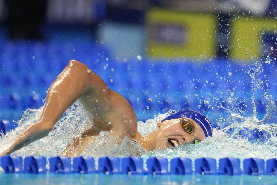 Kieran Smith participates in the Men's 400 Freestyle during wave 2 of the U.S. Olympic Swim Trials on Sunday, June 13, 2021, in Omaha, Neb. (AP Photo/Charlie Neibergall)