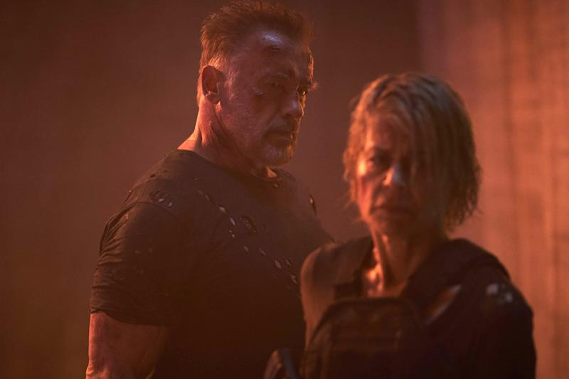 TERMINATOR: DARK FATE, from left: Arnold Schwarzenegger, Linda Hamilton, 2019. ph: Kerry Brown / Paramount / courtesy Everett Collection