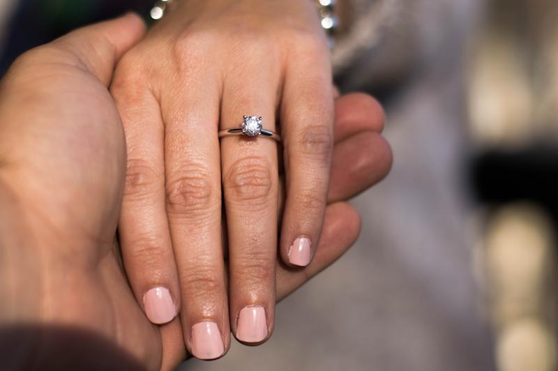 Close-Up Of Cropped Hands With Wedding Ring