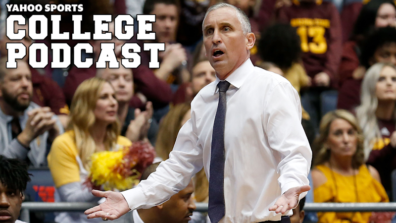 Head coach Bobby Hurley of the Arizona State Sun Devils argues a call with an official during the game against the Syracuse Orange Stay locked in with Yahoo Sports for more on the ongoing situation at Arizona State. (Photo by Kirk Irwin/Getty Images)