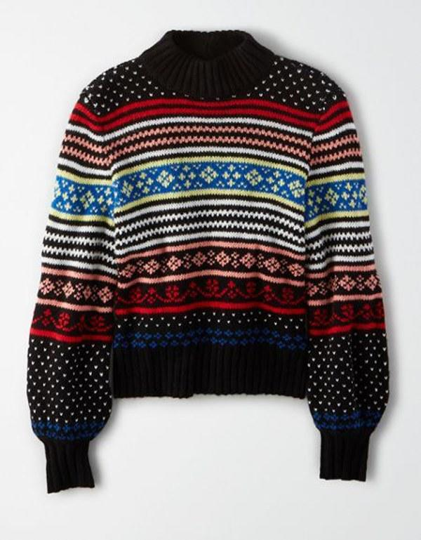 """Pull off the subtle but festive look with this pullover sweater from American Eagle. $50, American Eagle. <a href=""""https://www.ae.com/us/en/p/women/sweaters-cardigans/crew-neck-sweaters/ae-fairisle-pullover-sweater/0348_8748_001?nvid=plp%3Acat1410002&menu=cat4840004"""">Get it now!</a>"""