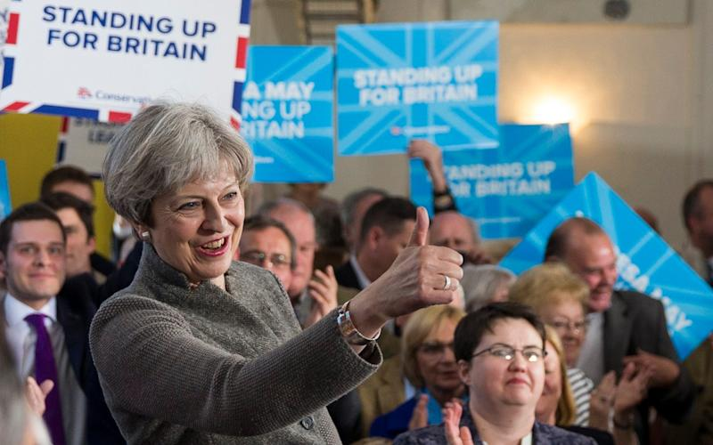 Prime Minister Theresa May makes her first campaign visit to Scotland ahead of June's snap general election - Credit:  Ross Johnston/Newsline Media