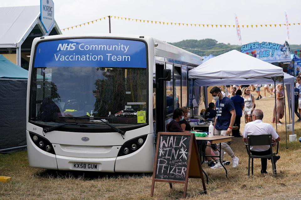 A Covid-19 vaccination bus at Latitude festival in Henham Park, Southwold, Suffolk (Jacob King/PA) (PA Wire)