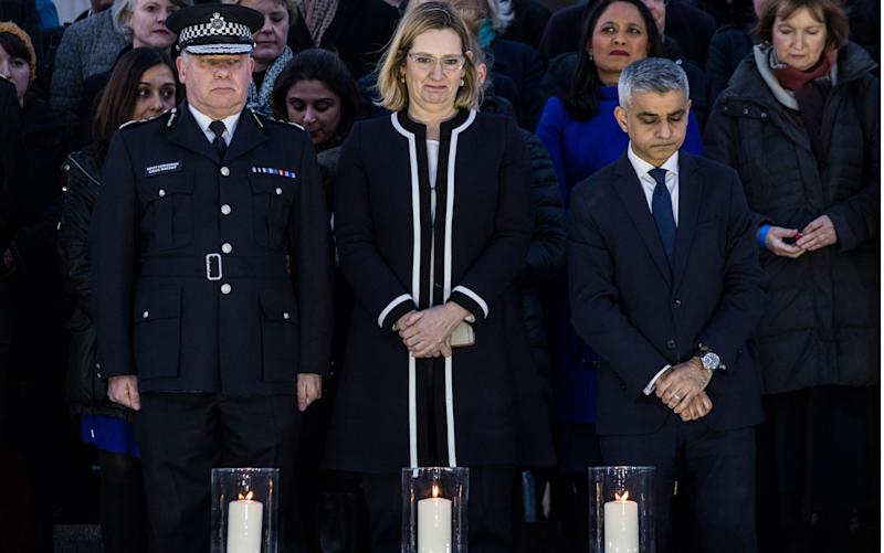 From left: Craig Mackey, deputy commissioner of the Met Police, Amber Rudd, the Home Secretary, and Sadiq Khan, the Mayor of London, attend a candlelit vigil in Trafalgar Square - Credit: James Gourley/REX/Shutterstock