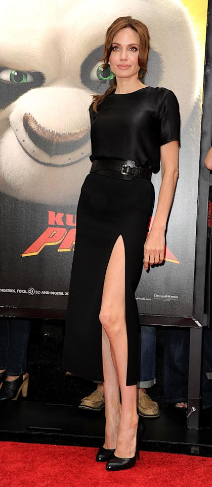 "<a href=""http://movies.yahoo.com/movie/contributor/1800019275"">Angelina Jolie</a> attends the Los Angeles premiere of <a href=""http://movies.yahoo.com/movie/1810090593/info"">Kung Fu Panda 2</a> on May 22, 2011."
