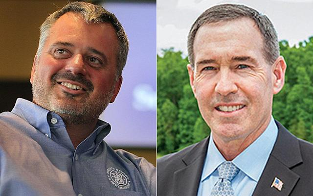 James Debney, CEO of Smith & Wesson (left) and Christopher Killoy, CEO of Sturm, Ruger & Co. (right), live miles apart in a tiny conservative town in Massachusetts. Their companies now manufacture more than one-third of all guns made in the U.S. (Getty Images/Ruger press release)
