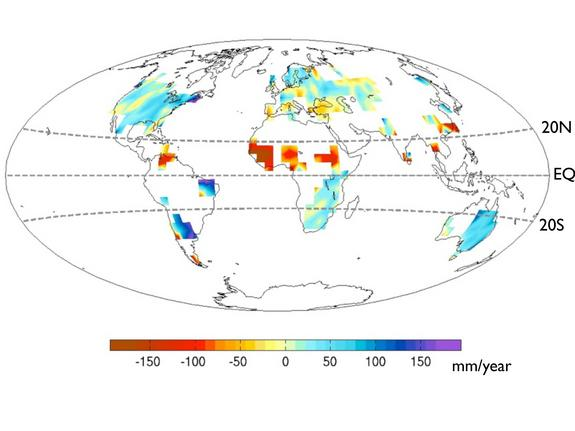 Global precipitation change between 1931 to 1950 and 1961 to1980. The African Sahel, center, is much drier, while East Africa and East Brazil are wetter.