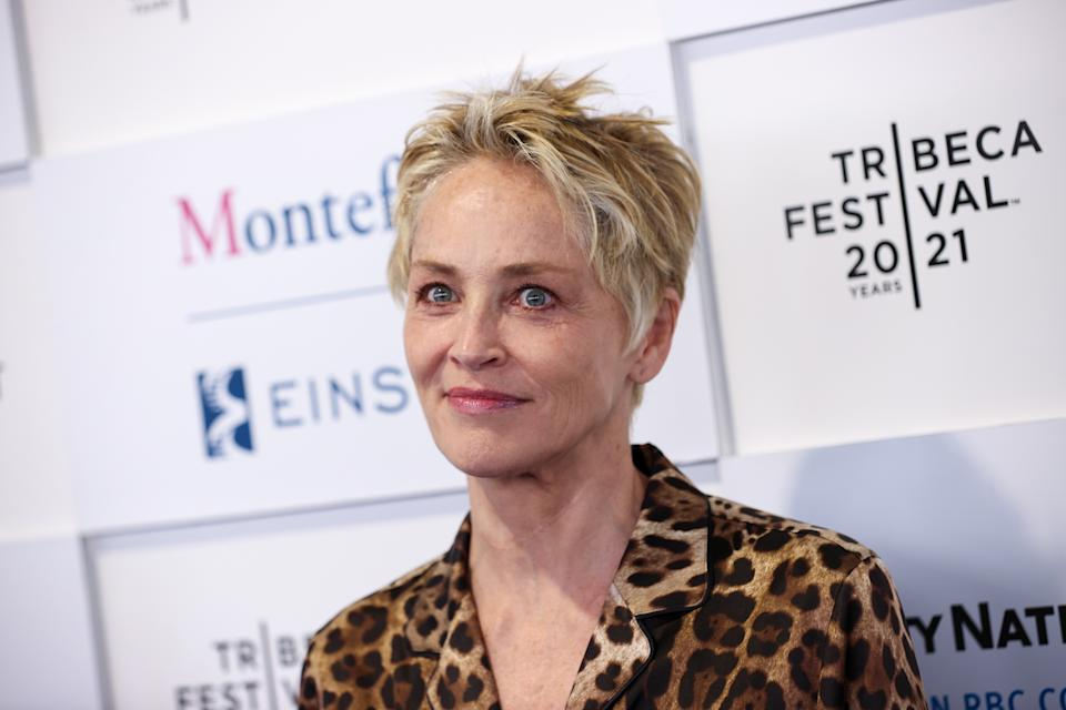 Sharon Stone recreated her famous Basic Instinct pose. (Photo by Dimitrios Kambouris/Getty Images)
