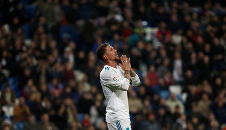 Soccer Football - Spanish King's Cup - Real Madrid vs Leganes - Quarter Final Second Leg - Santiago Bernabeu, Madrid, Spain - January 24, 2018; Sergio Ramos reacts REUTERS/Juan Medina