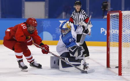 Ice Hockey - Pyeongchang 2018 Winter Olympics - Women's Bronze Medal Match - Finland v Olympic Athletes from Russia - Kwandong Hockey Centre, Gangneung, South Korea - February 21, 2018 - Olympic Athlete from Russia Lyudmila Belyakova scores their second goal. REUTERS/Grigory Dukor
