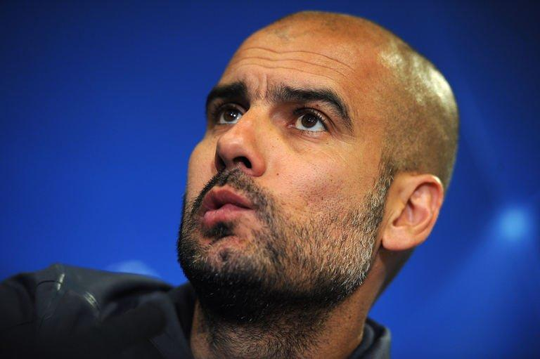A photo taken on April 17, 2012 shows Josep Guardiola during a press conference at London's Stamford Bridge stadium