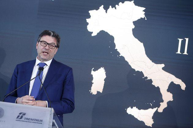 The minister of the Economic development Giancarlo Giorgetti during the presentation of the train La dolce Vita, a luxury train made of old wagons that will tour Italy slowly bringing tourists to the most pleasant places of the peninsula. Rome (Italy), June 15th, 2021 (Photo by Samantha Zucchi/Insidefoto/Mondadori Portfolio via Getty Images) (Photo: Mondadori Portfolio via Getty Images)