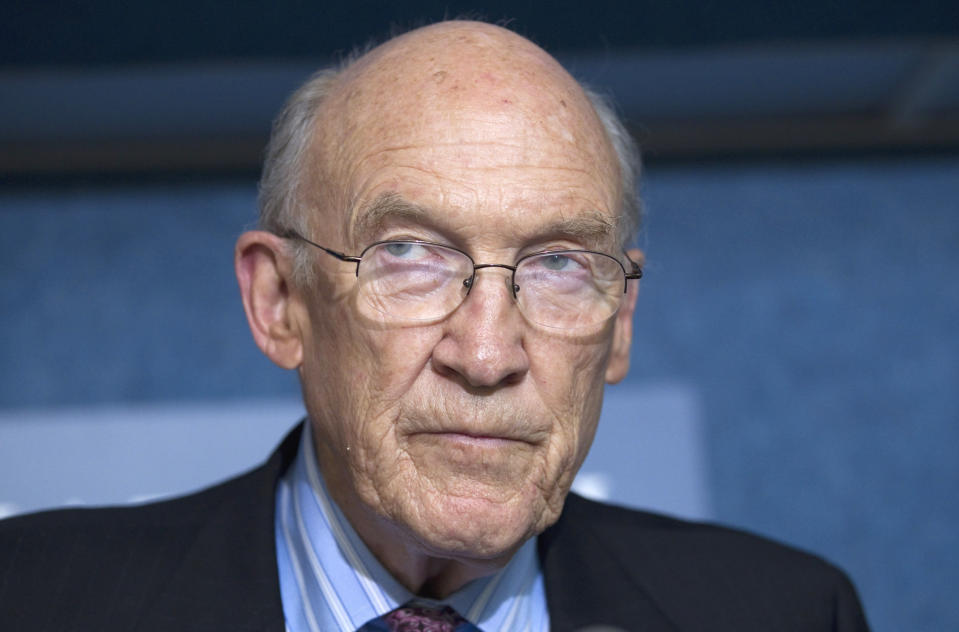 FILE - In this Sept. 12, 2011 file photo, Alan Simpson, speaks in Washington, D.C. The family of the former Wyoming senator said he is in stable condition after suffering a stroke. The 89-year-old had a blood clot removed from an artery, which his son Colin Simpson said most likely caused the stroke on Monday, Oct. 26, 2020. Colin Simpson said Wednesday, Oct. 28 his father is coherent with good vital signs and was being evaluated for future risks at Swedish Medical Center in Englewood, Colo., where he was hospitalized. (AP Photo/Evan Vucci, File)