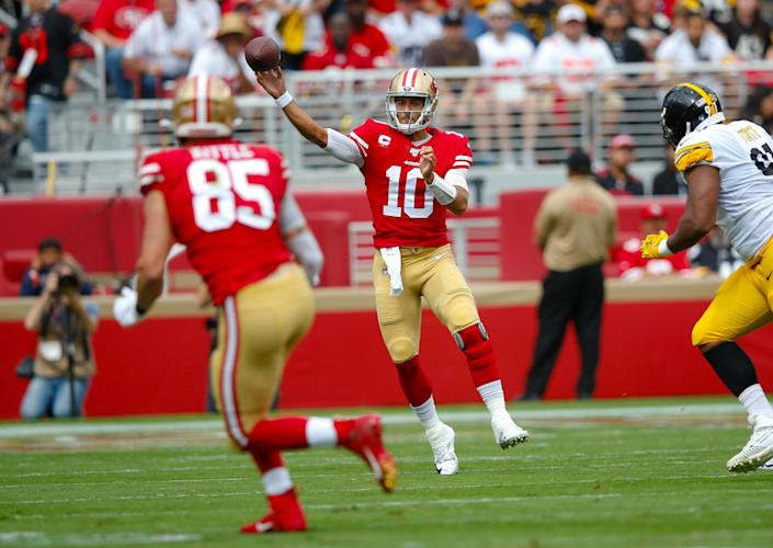 Jimmy Garoppolo has helped lead the 49ers to a 3-0 start. (Getty Images)