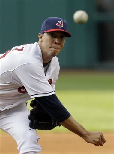 Cleveland Indians starter Ubaldo Jimenez delivers a pitch in the first inning of a baseball game against the Detroit Tigers, Wednesday, May 22, 2013, in Cleveland. (AP Photo/Tony Dejak)