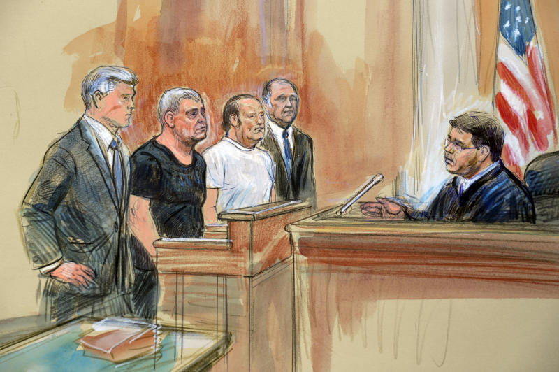 This courtroom sketch depicts from left, attorney Kevin Downing, Lev Parnas, Igor Fruman, attorney Thomas Zehnle and U.S. Judge Michael Nachmanoff, at federal courthouse in Alexandria, Va., Thursday, Oct. 10, 2019. Parnas and Fruman, two Florida businessmen tied to President Donald Trump's lawyer and the Ukraine investigation, were charged with federal campaign finance violations. The charges relate to a $325,000 donation to a group supporting President Donald Trump's reelection. (Dana Verkouteren via AP)