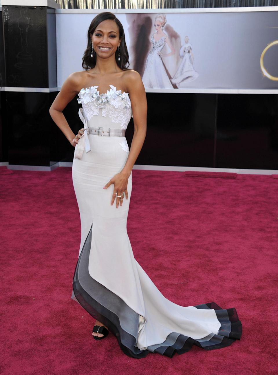 Worst: Zoe Saldana's Alexis Mable Couture gown has it all -- a belt, a bow, an embellished neckline, ombre-like layers -- and that's exactly the problem. It's too much. Saldana herself looked gorgeous, but the busy dress distracted from her beauty.