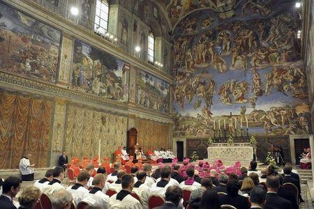 Pope Benedict XVI conduct Vespers in the Sistine Chapel at the Vatican, October 31, 2012. REUTERS/Osservatore Romano/Pool